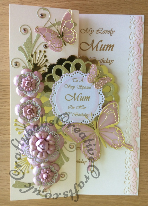 Special Card for a Mum's 70th Birthday, Made using a variety of dies including Tattered Lace Dies Lavish Blooms Poppy, Quickutz Dies nesting Scalloped Circle, Die'sire Dies looped? circle, Memory Box Dies Butterflies and Gwyneth flourish, Marianne dies leaf elements and Nellie Snellen Dies nesting scalloped circles - craftybabscreativecrafts.co.uk