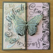"8""x8"" Birthday card made using Tattered Lace Butterfly garden embossing folder, Cheery lynn XL butterfly & Angel wing dies, Memory box Kaleidoscope and Pippi butterflies and Gwyneth flourish dies and cuttlebug sentiment die. Border punch by EK success - craftybabscreativecrafts.co.uk"
