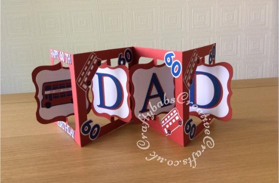Men's birthday accordion card - craftybabscreativecrafts.co.uk