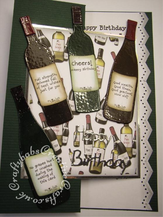 Men's birthday card, wine bottles, wine buffs - craftybabscreativecrafts.co.uk