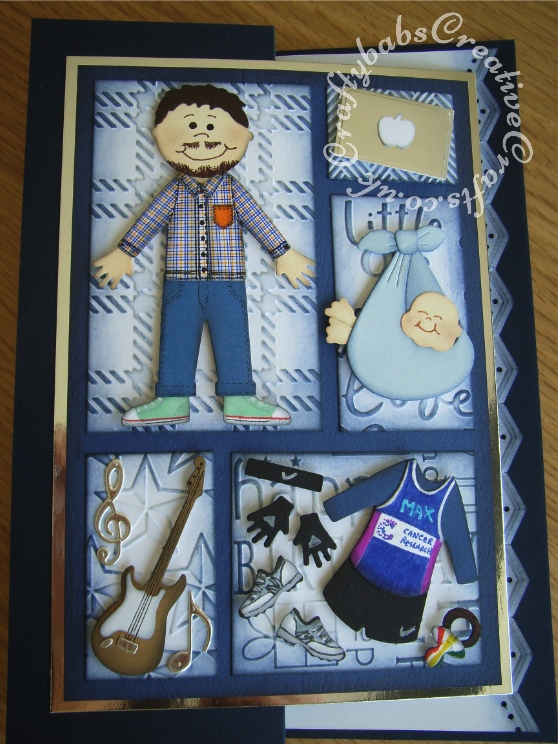 Men's birthday card look alike collage, baby, guitar, running & computer - craftybabscreativecrafts.co.uk
