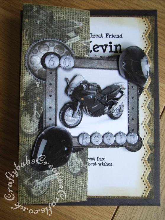 Men's 60th birthday card motorbike - craftybabscreativecrafts.co.uk
