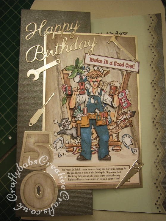 Men's 50th birthday card DIY carpenter - craftybabscreativecrafts.co.uk