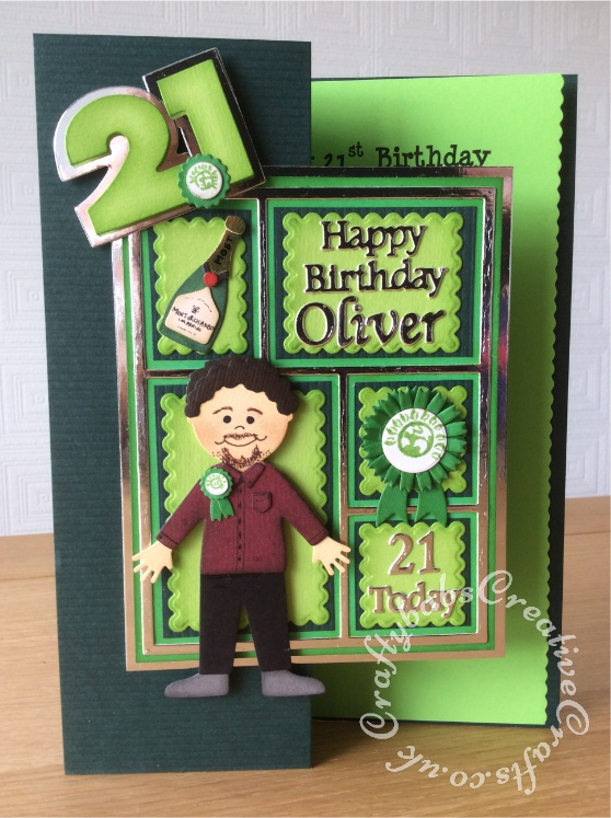 Men's Birthday Card green party candidate 21st birthday card, Sizzix originals shadow box number dies. Taylored expression patchwork dies, Quickutz 4x4 doll and clothes dies, Go Kreate champagne bottle die. Sizzix thinlits flower dies, Tattered Lace sentiments 2014 dies,Cheery Lynn alphabet dies - craftybabscreativecrafts.co.uk