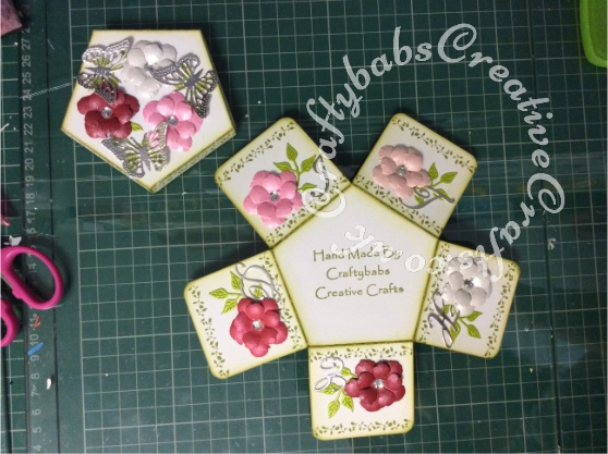 Tattered Lace Pentagon Exploding Box Card Tutorial 15 - craftybabscreativecrafts.co.uk