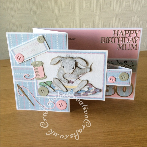 Mum 80th double 'Z' Birthday card made using Joanna Sheen Gruffles & Happy hoppers CDrom and various dies including Xcut A5 Haberdashery die set, Sizzix originals Shagow box numbers, Tattered Lace sentiment dies (from 3Diemensions sets). Stamps - craftybabscreativecrafts.co.uk