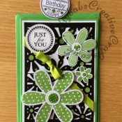 Daisy Just for you/birthday card Sizzix thinlits/framelits - craftybabscreativecrafts.co.uk