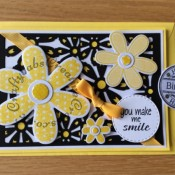Daisy You make me smile/birthday card Sizzix thinlits/framelits - craftybabscreativecrafts.co.uk