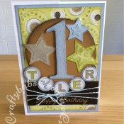 1st Birthday Boy Stars Card- craftybabscreativecrafts.co.uk