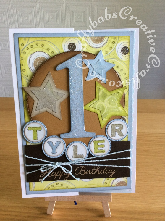 1st Birthday Boy card made using the following dies; Sizzix Bigz Number die, Crealies nesting double stitched circles 33 dies, Spellbinders nesting stars dies, Britannia Sentiment dies and circle punch - craftybabscreativecrafts.co.uk
