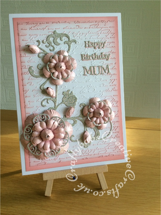 Pop up centre card made using the following dies; Tattered Lace Lavish blooms poppies, lacey rose and sentiment dies, Sizzix thinlits butterflies and flower vine set. Tattered Lace script embossing folder and Tonic Hugs strip sentiment die - craftybabscreativecrafts.co.uk