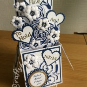 Navy & White Wedding Pop Up Card - craftybabscreativecrafts.co.uk