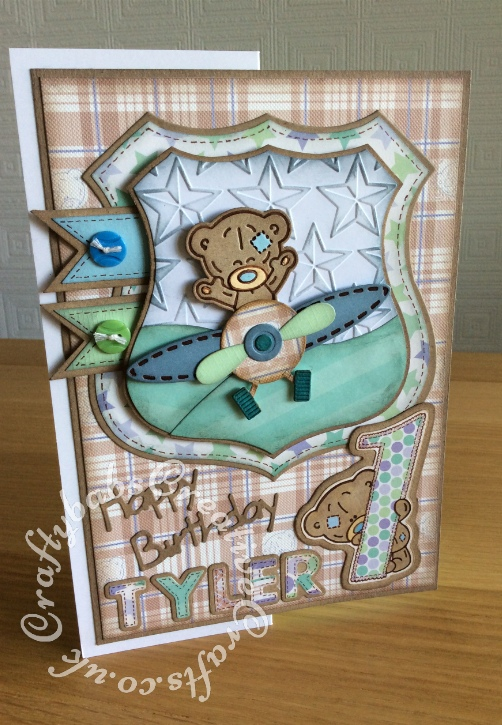"1st Birthday Card for a little boy, made using Trimcraft's Tiny Tatty Teddy 3d dies and matching 12""x12"" papers. Also using Marianne sentiment dies and Sizzix sizzlits Fruit Smoothie alphabet dies. - craftybabscreativecrafts.co.uk"