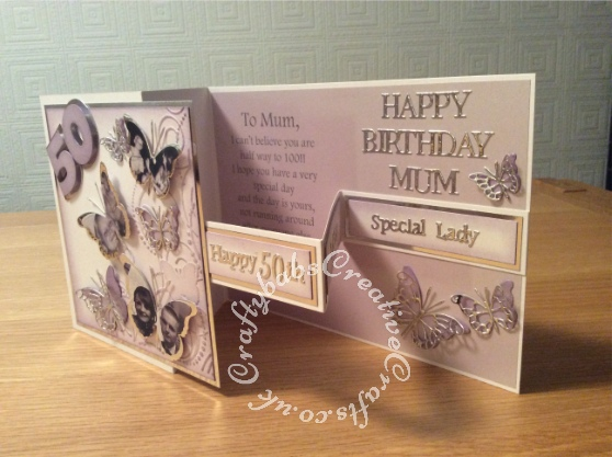 Double Z fold 50th birthday card using various dies including; Memory box Leavenworth and cascadia butterflies, Tatteref Lace sentiment dies, Sizzix originals Shadow box number dies and Darice butterflies embossing folder - craftybabscreativecrafts.co.uk