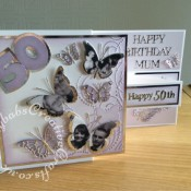 Double Z fold 50th birthday card using photographs - craftybabscreativecrafts.co.uk