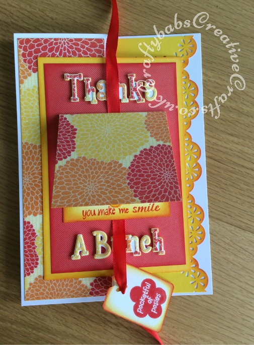 Flower Pop Up Thank you cardmade using the following dies; Sizzix sizzlits Girls are weird alphabet dies and Xcut petal posy flower dies. Tag and inside stamped - craftybabscreativecrafts.co.uk