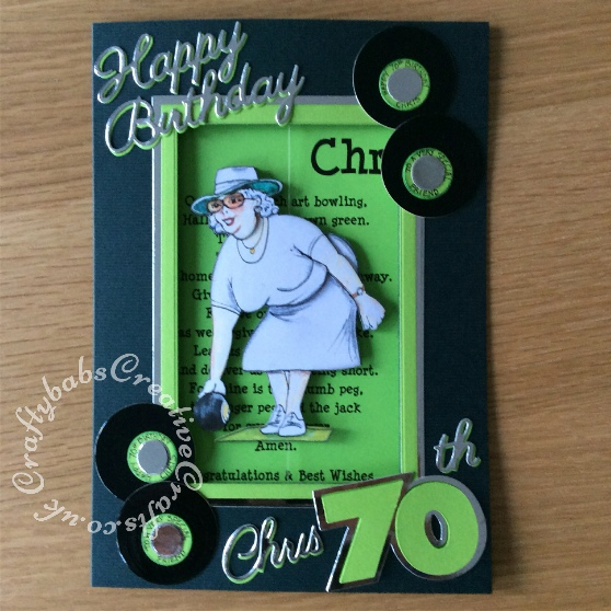 Lady Bowler 70th Birthday card using La Pashe CDRom - craftybabscreativecrafts.co.uk