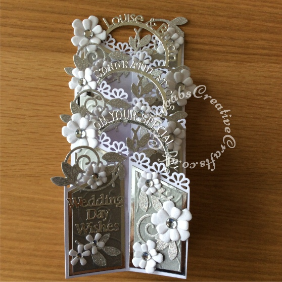 Tattered Lace Zig-Zag Cascade card, Sizzix Thinlits bunch of flowers, Memory Box Alphabet soup, Spellbinders Romantic vines - craftybabscreativecrafts.co.uk