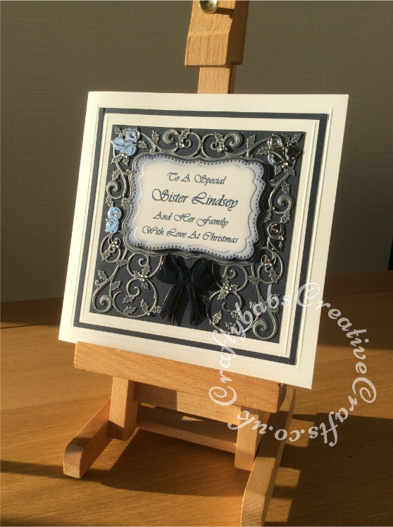 "8"" Square Christmas Card, Spellbinders Card Creator Decorative Holly Frame - craftybabscreativecrafts.co.uk"