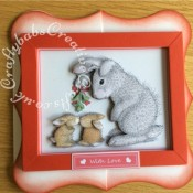 Joanna Sheen Happy Hoppers CD ROM Large Framed Decoupaged Christmas Card - craftybabscreativecrafts.co.uk