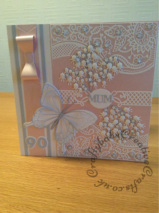 """Large 8"""" Square 90th Birthday Card, Memory Box, Spellbinders, Tattered Lace, Cheery Lynn, Sizzix - craftybabscreativecrafts.co.uk"""