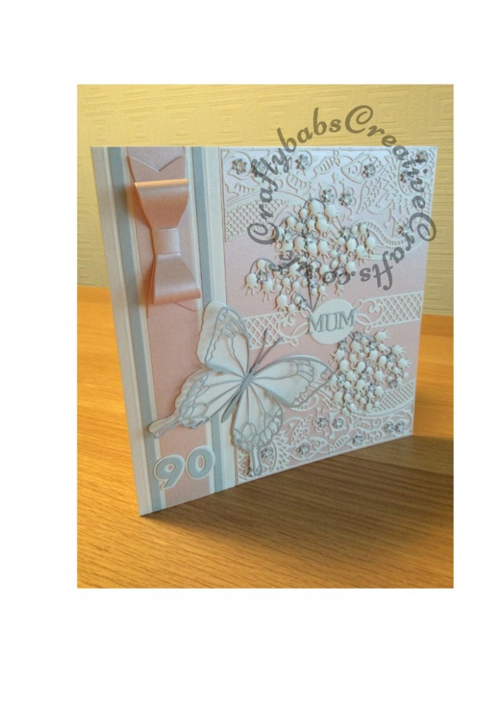 "Large 8"" Square 90th Birthday Card, Memory Box, Spellbinders, Tattered Lace, Cheery Lynn, Sizzix - craftybabscreativecrafts.co.uk"
