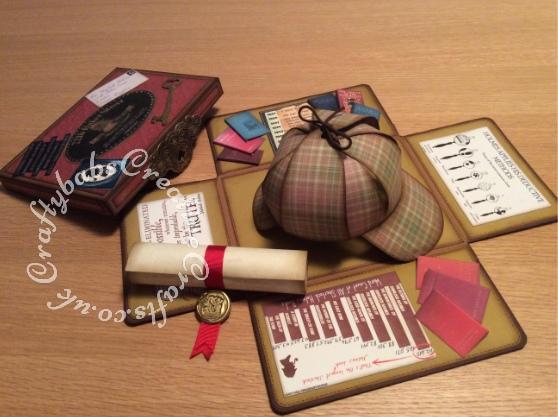 Sherlock Holmes Birthday Keepsake Box,Sizzix Framelits Die Set 6PK w/Stamps - Gypsy Findings, Antique Handles 658462 Sizzix Bigz Die & Matching Embossing Folder - craftybabscreativecrafts.co.uk