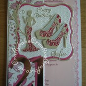 A4 Fashion/shoe themed 21st Birthday Card made using various dies including;Memory Box Gwyneth Flourish die, Tattered Lace Olivia die, Cheery Lynn High Heeled Steam Punk Shoe dies, Cheery Lynn Delicate Lace Script alphabet dies, Sizzix Bigz Sassy Serif Numbers dies, Britannia dies Happy Birthday sentiment, Jus Cutz nesting labels dies and Tattered Lace Ditsy Dots embossing folder. Woodware crafty edger tag border punch used for insert. - craftybabscreativecrafts.co.uk