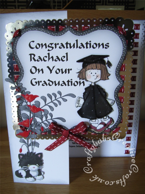 A4 Graduation Card made using The Clipart Fairy CD Rom and the following dies/punches; Memory Box Prim Poppy die, Cheery Lynn pair of ferns die and Woodware crafty edger ribbon border and corner punches. - craftybabscreativecrafts.co.uk