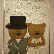 Cute Boo Bear Wedding card made using Go Kreate Boo For you die, Boo the bear die, boo bride outfit die, Boo Groom outfit die, Britannia dies wedding sentiment, Quickutz Diamonds and dots embossing folder, - craftybabscreativecrafts.co.uk