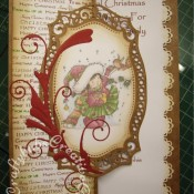 Cute Stamped Christmas card made using Spellbinders Majestic Labels 25 dies, Memory Box Gwyneth flourish die, Nellie Snellen Dawn's stamps sharing a biscuit stamp and Anna Marie's Special Christmas background stamps - craftybabscreativecrafts.co.uk