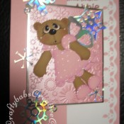 Fairy Bear Christmas card made using Craftycat custom made wooden New Bear die, Toffee Bear outfit die, Quickutz 4x4 snowflake die, Sizzix originals butterfly #3 die and Cuttlebug snowflake embossing folder - craftybabscreativecrafts.co.uk