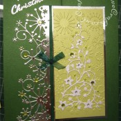 Gem tree and snow border Christmas card made using Cuttlebug snowflake embossing folder, Memory Box Frostyville border die and Memory Box flowering Christmas tree die. - craftybabscreativecrafts.co.uk
