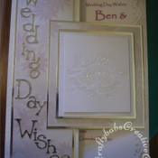 Glittered De-bossed wedding Bells wedding card made using Sizzix decorative strip Wingo Zingo alphabet die and cuttlebug embossing folder set 'Wedding' - craftybabscreativecrafts.co.uk