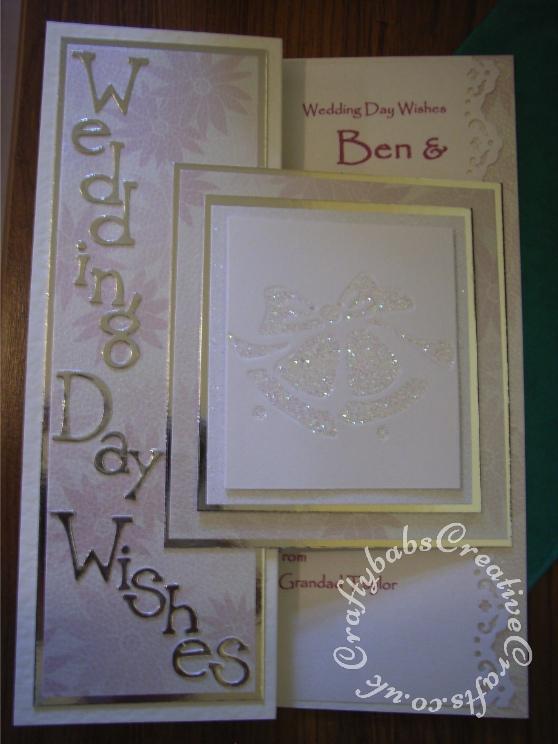Glittered De-bossed wedding Bells wedding card made using Sizzix decorative strip Wingo Zingo alphabet die and cuttlebug embossing folder set 'Wedding' - craftybabscreativecrafts.co.uk