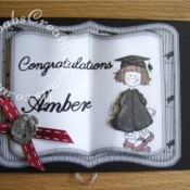 Graduation Book Card made using a Clipart Fairy CDRom, Cheery Lynn Delicate Lace Script alphabet dies and Britannia sentiment die. - craftybabscreativecrafts.co.uk