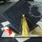 Pop up Graduation card made using Cuttlebug congrats embossing folder, heat embossed with clear embossing powder - craftybabscreativecrafts.co.uk