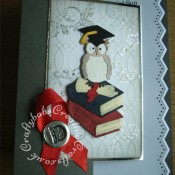 Graduation wise owl card made using various dies including Little Claire owl die, Sizzix sizzlits bible die, cuttlebug 3x3 graduation die for sentiment, custom made graduation teddy die for mortar board and scroll die. Wax seal triple embossed with UTEE and stamped with monogram stamp, Background embossed stamped and gilded with gilding flaked then distressed. Martha Stewart edge punch zig zag used for insert. - craftybabscreativecrafts.co.uk