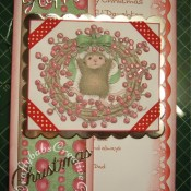 Housemouse Decoupage Christmas card made using Joanna Sheen's Housemouse CD roms, Quickutz Nesting scalloped squares dies and Britannia dies Happy Christmas sentiment dies - craftybabscreativecrafts.co.uk