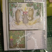 Housemouse Decoupage Christmas card made using Joanna Sheen's Housemouse CD roms, Xcut snowflake punch and Britannia dies Happy Christmas sentiment dies - craftybabscreativecrafts.co.uk