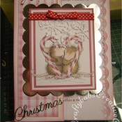 Housemouse Decoupage Christmas card made using Joanna Sheen's Housemouse CD roms, Memory Box Frostyville border die, Quickutz nesting scalloped squares dies and Britannia dies Happy Christmas sentiment dies - craftybabscreativecrafts.co.uk