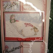Housemouse Decoupage Christmas card made using Joanna Sheen's Housemouse CD roms, Memory Box Frostyville border die and Britannia dies Happy Christmas sentiment dies - craftybabscreativecrafts.co.uk