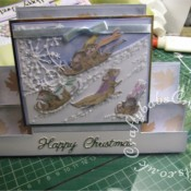 Housemouse Decoupage Stepper Christmas card made using Joanna Sheen's Housemouse CD roms, Memory Box Frostyville border die and Britannia dies Happy Christmas sentiment dies - craftybabscreativecrafts.co.uk