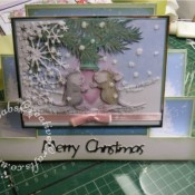 Housemouse Decoupage Stepper Christmas card made using Joanna Sheen's Housemouse CD roms, Memory Box Frostyville border die and Marianne Happy Christmas sentiment dies - craftybabscreativecrafts.co.uk