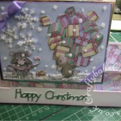 Housemouse Decoupage Stepper Christmas card made using Joanna Sheen's Housemouse CD roms, Xcut snowflake punch and Marianne Happy Christmas sentiment dies - craftybabscreativecrafts.co.uk