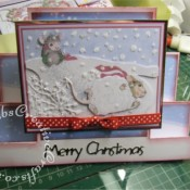 Housemouse Decoupage Stepper Christmas card made using Joanna Sheen's Housemouse CD roms, Memory Box Frostyville border die and Marianne Happy Christmas sentiment dies- craftybabscreativecrafts.co.uk