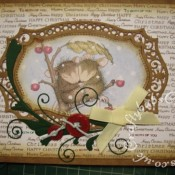 Housemouse Christmas card made using Spellbinders Majestic Labels 25 dies, Memory Box Gwyneth flourish die, Xcut button dies, Joanna Sheen's Housemouse CD roms and Anna Marie's Special Christmas background stamps - craftybabscreativecrafts.co.uk