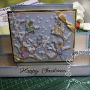 Housemouse Decoupage Stepper Christmas card made using Joanna Sheen's Housemouse CD roms and Britannia dies Happy Christmas sentiment dies - craftybabscreativecrafts.co.uk
