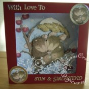 Housemouse 3D Panorama Christmas card made using Joanna Sheen's Housemouse CD roms, Tattered Lace Panorama and essentials squares dies, Tattered lace Christmas and relatives sentiment dies, nesting circle dies and Memory Box frostyville border die - craftybabscreativecrafts.co.uk