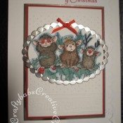 Housemouse Stamped Christmas card made using Three wise mice Housemouse rubber stamp, Cuttlebug swiss dots embossing folder and Nellie Snellen muli-frame ovals dies - craftybabscreativecrafts.co.uk